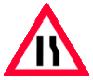 Drum ingustat pe partea dreapta